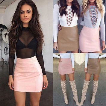 DCCKIG3 Vogue 2017 Women Sexy Bandge Leather Skirt High Waist Pencil Bodycon Short Mini Skirt