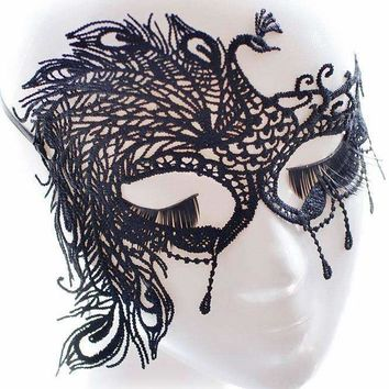 Black Peacock Lace Masquerade Party Mask