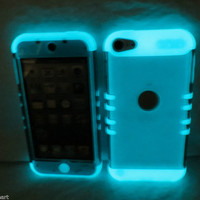 iPod Touch 5th Gen Transparent Smoke Glow in the Dark Hybrid Cover Case 5