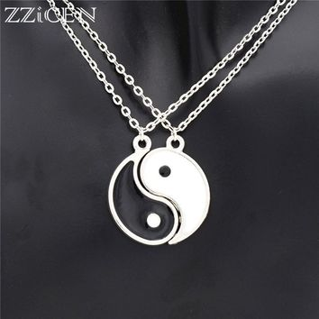 1Pair Romantic Enamel Black and White Best Friend Tai Chi Pendants BFF Yin Yang Necklace Friendship Lover Couples Christmas Gift