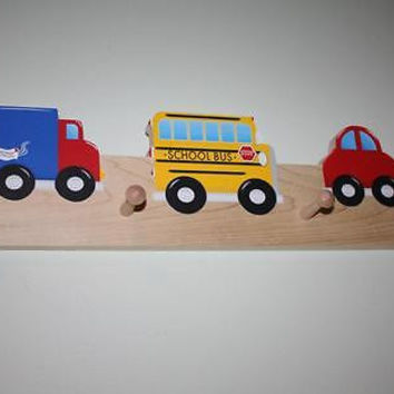 VroOm VRooM Vehicle Wooden CLOTHES PEG Rack Bathroom Bedroom CR0018