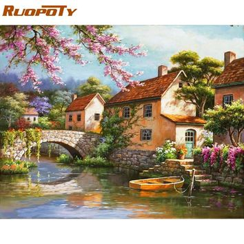 RUOPOTY Frame Countryside Landscape Diy Painting By Numbers Kits Acrylic Picture Home Wall Art Decor For Unique Gift Artwork