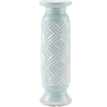 Blue Herringbone Candle Holder, Medium