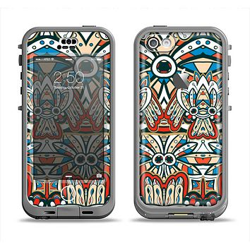 The Decorative Blue & Red Aztec Pattern Apple iPhone 5c LifeProof Nuud Case Skin Set