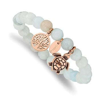 Stainless Steel Rose Gold Turtle & Tree of Life Charm Grey Jade Stretch Bracelet