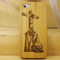 Wooden Jesus Design iPhone 5 Cases