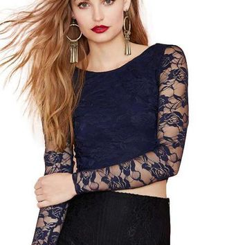 HDY Haoduoyi Fashion Navy Crop Tops Women Long Sleeve O-neck Lace Contrast Women T-shirts Backless Sheer Slim Sexy Casual Tees