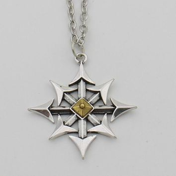 Cross of Chaos Star Necklace,Chaos Magick Pendant Arrows of Chaos Necklace Satanic Steampunk Jewelry for Men
