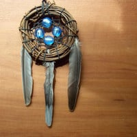 Bird Nest Dream Catcher with Dichroic Glass and Found Feathers