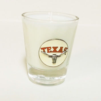 Texas Longhorns Candle - Soy Shot Glass Candle - CHOICE OF SCENT