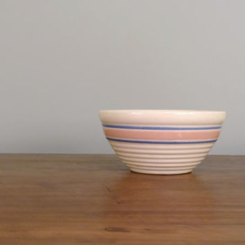 Vintage McCoy Bowl Ivory Earthenware with Pastel Pink and Blue Stripes