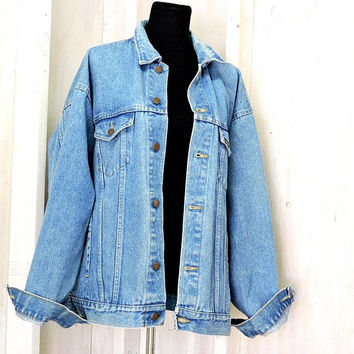 "Vintage 70s denim jacket XL /  mens vintage Roebucks trucker jacket / 1970s jean jacket / Oversized / Faded Retro / 53"" chest"