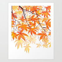 orange maple leaves watercolor Art Print by Color and Color