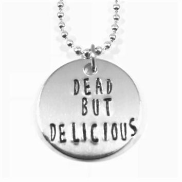 Dead But Delicious Hand Stamped What We Do In The Shadows Aluminum Necklace