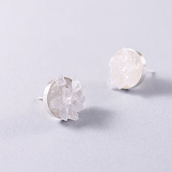 Silver quartz crystal stud earrings rough gemstones jewelry