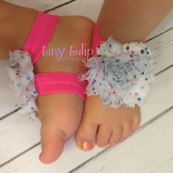 Baby Barefoot Sandals... Pink, White and Polka Dot Barefoot Sandals...Newborn...Toddler Barefoot Sandals