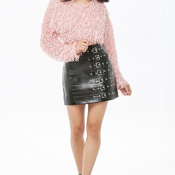 Motel Cropped Feathered Sweater