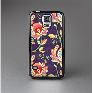 The Dark Purple & Colorful Floral Pattern Skin-Sert Case for the Samsung Galaxy S5