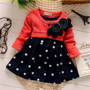 BibiCola fashion Cotton Baby girl christmas dresses clothes Kids Children's Lovely princess Two Tones Splicing Polka Dots Dress