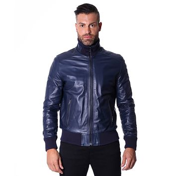Blue Handmade Leather Bomber Jacket