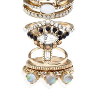 10 x Carrie Sparkle Styling Rings | Blue | Accessorize