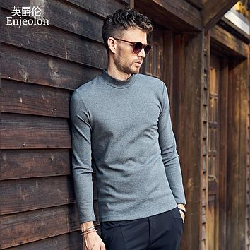 quality Turtleneck long sleeve t shirt man cotton 4 color solid base Clothing Tops Tee