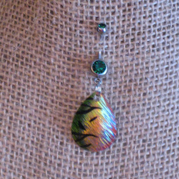 Green Fishing Lure Belly Ring