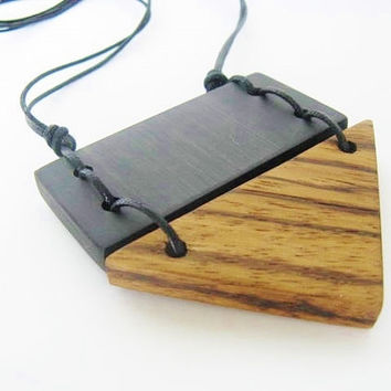 Triangle Necklace Geometric Ebony Exotic Wood