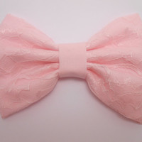Light Pink-N-Light Pink Lace Hair Bow, Fabric Hair Bow, Hairbow, Hair Accessory