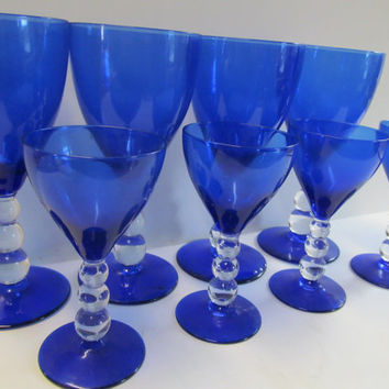 Cobalt Blue Glass Cocktail Glasses Blue Wedding Decor Blue and White decor Cobalt Blue Wine Glasses