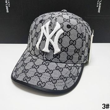 GUCCI x NY x LA Summer Hot Sale Women Men Sports Sun Hat Baseball Cap Hat 3# Grey