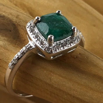 1.6 CT  Genuine Emerald & Created White Sapphire Platinum and 925 Sterling Silver Ring