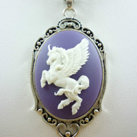My Little Pony White Alicorn Winged Unicorn Cameo on Purple Silver Finish Chain