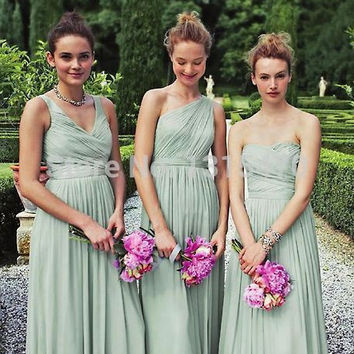 Mint Bridesmaid Dresses Long Chiffon Pleat Vestido De Festa Maid Vestido 3 Different Styles Beautiful Romantic Wedding Parties