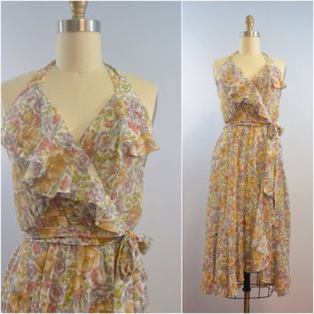 Vintage 1970s Floral Garden Halter Dress by The Ingenue of California Size Small