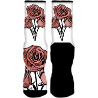 Jordan 11 Rose Gold Sneaker Socks - BOUQUET OF ROSES
