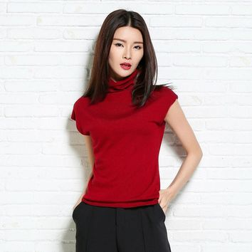 2017 spring and auntmun high quality womens cashmere sweaters women knitted pullovers sleeveless female turtleneck sweater