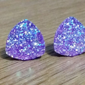 Druzy earrings-  Triangle iridescent purple druzy earrings