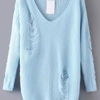 Blue V Neck Ripped Long Sleeve Sweater