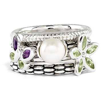 Sterling Silver, FW Cultured Pearl Stackable Serenity Ring Set