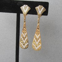 Vintage Signed SPAIN Long Thin Damascene Dangle Earrings
