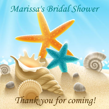 Bridal Shower Beach Themed Favor Tags