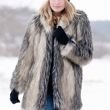 Pieced Fox Shawl Collar Faux Fur Jacket | Womens Faux Fur Jackets - Donna Salyers Fabulous Furs