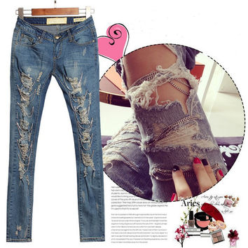 1882 2017 Hot Fashion Ladies/Female Cotton Denim Ripped Punk Cut-out Women Sexy Skinny pants Jeans Trousers Metal Chain Jeans