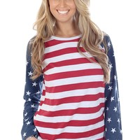 Women's American Flag Raglan Shirt | Tipsy Elves