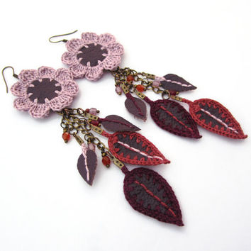 Genuine leather flower dangle earrings,recycled repurposed upcycled leather earrings,crochet earrings,pink,burgundy