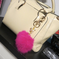 Hot Pink 18K Gold plated Real Fur Keychain Puff ball Bag Charm / Rabbit fur with pearls Key chain ring, pendant furry puff ball bag charm