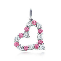 Tiffany & Co. - Tiffany Hearts® charm in platinum with pink sapphires and diamonds, mini.