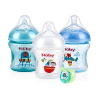 Nuby Natural Touch Tinted 3pk 6oz Bottles with Slow Flow Nipple, with Printed Pacifier, Boy Assortment - Walmart.com