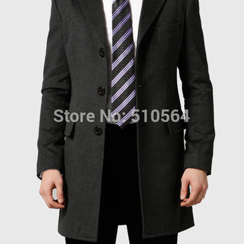 Free shipping Custom made Slim fit men hight quality cashmere coat Business charcoal longer jacket